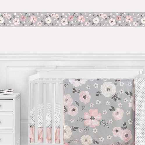 Grey Watercolor Floral Wallpaper Wall Border Mural by Sweet Jojo Designs - Blush Pink Gray and White Shabby Chic Rose Flower Farmhouse Boho Bohemian - Click to enlarge
