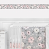 Grey Watercolor Floral Wallpaper Wall Border Mural by Sweet Jojo Designs - Blush Pink Gray and White Shabby Chic Rose Flower Farmhouse Boho Bohemian