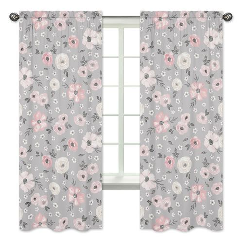 Grey Watercolor Floral Window Treatment Panels Curtains by Sweet Jojo Designs - Set of 2 - Blush Pink Gray and White Shabby Chic Rose Flower Farmhouse - Click to enlarge