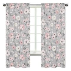 Grey Watercolor Floral Window Treatment Panels Curtains by Sweet Jojo Designs - Set of 2 - Blush Pink Gray and White Shabby Chic Rose Flower Farmhouse