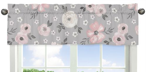 Grey Watercolor Floral Window Treatment Valance by Sweet Jojo Designs - Blush Pink Gray and White Shabby Chic Rose Flower Farmhouse - Click to enlarge