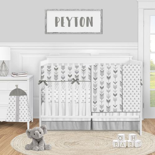 Grey Woodland Arrow Baby Boy or Girl Nursery Crib Bedding Set by Sweet Jojo Designs - 5 pieces - Mod Gray and White - Click to enlarge