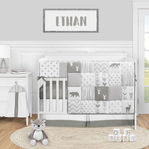 Grey Woodland Arrow Deer Baby Boy or Girl Nursery Crib Bedding Set by Sweet Jojo Designs - 5 pieces - Gray and White Woodsy - Click to enlarge