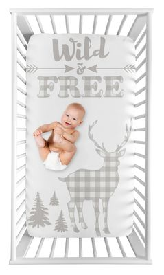Grey Woodland Buffalo Plaid Boy Fitted Crib Sheet Baby or Toddler Bed Nursery Photo Op by Sweet Jojo Designs - Gray and White Rustic Country Deer Lumberjack Arrow Wild and Free