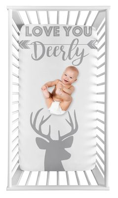 Grey Woodland Deer Boy Fitted Crib Sheet Baby or Toddler Bed Nursery Photo Op by Sweet Jojo Designs - Gray and White Stag