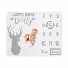 Grey Woodland Deer Boy Milestone Blanket Monthly Newborn First Year Growth Mat Baby Shower Memory Keepsake Gift Picture by Sweet Jojo Designs - Gray and White Stag Forest Animal Love You Deerly
