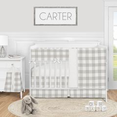 Grey Woodland Plaid Baby Boy or Girl Nursery Crib Bedding Set by Sweet Jojo Designs - 5 pieces - Gray White Rustic Buffalo Check Flannel Country Lumberjack