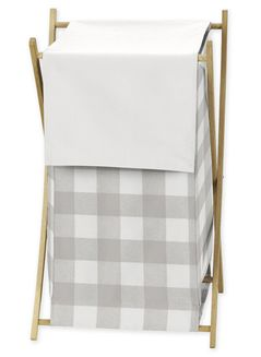 Grey Woodland Plaid Baby Kid Clothes Laundry Hamper by Sweet Jojo Designs - Gray White Rustic Buffalo Check Flannel Country Lumberjack