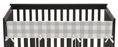 Grey Woodland Plaid Boy or Girl Long Front Crib Rail Guard Baby Teething Cover Protector Wrap by Sweet Jojo Designs - Gray White Rustic Buffalo Check Flannel Country Lumberjack