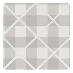 Grey Woodland Plaid Fabric Memory Memo Photo Bulletin Board by Sweet Jojo Designs - Gray White Rustic Buffalo Check Flannel Country Lumberjack