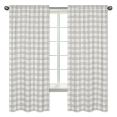 Grey Woodland Plaid Window Treatment Panels Curtains by Sweet Jojo Designs - Set of 2 - Gray White Rustic Buffalo Check Flannel Country Lumberjack