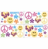 Groovy Kids and Teens Peace Sign Wall Decal Stickers - Set of 4 Sheets