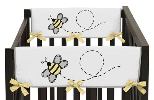 Honey Bee Baby Crib Side Rail Guard Covers by Sweet Jojo Designs - Set of 2 - Click to enlarge