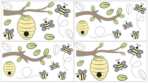 Honey Bee Peel and Stick Wall Decal Stickers Art Nursery Decor by Sweet Jojo Designs - Set of 4 Sheets - Click to enlarge
