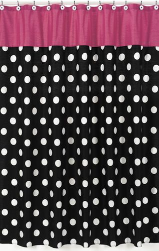 Hot Dot Modern Kids Bathroom Fabric Bath Shower Curtain by Sweet Jojo Designs - Click to enlarge