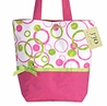 Hot Pink and Lime Green Modern Circles and Dots Tote Handbag (Great for Diaper Bag, Tote Bag, Purse or Beach Bag)