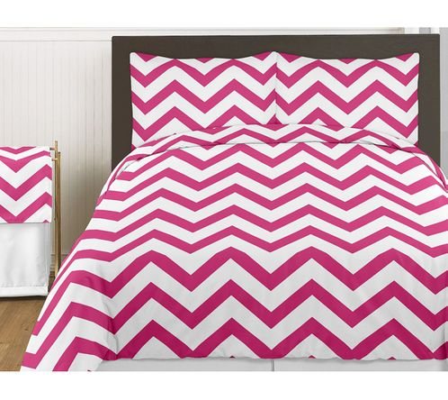 Hot Pink and White Chevron 3pc Bed in a Bag Zig Zag King Bedding Set Collection - Click to enlarge