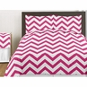 Hot Pink and White Chevron 4pc Childrens and Kids Zig Zag Twin Bedding Set Collection