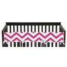 Hot Pink and White Chevron Baby Crib Long Rail Guard Cover by Sweet Jojo Designs