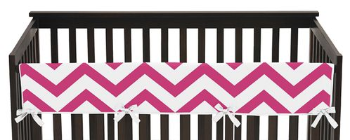 Hot Pink and White Chevron Baby Crib Long Rail Guard Cover by Sweet Jojo Designs - Click to enlarge