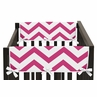 Hot Pink and White Chevron Baby Crib Side Rail Guard Covers by Sweet Jojo Designs - Set of 2