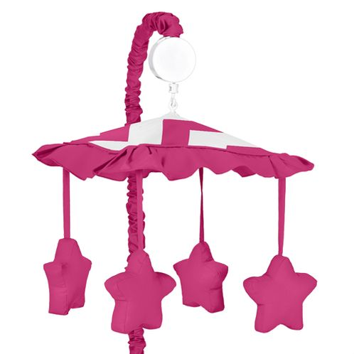 Hot Pink and White Chevron Musical Baby Crib Mobile by Sweet Jojo Designs - Click to enlarge