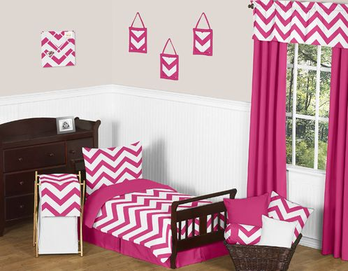 Hot Pink and White Chevron Collection Toddler Bedding - 5pc Set by Sweet Jojo Designs - Click to enlarge