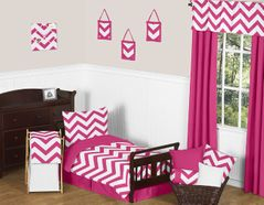 Hot Pink and White Chevron Collection Toddler Bedding - 5pc Set by Sweet Jojo Designs