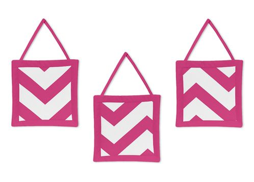 Hot Pink and White Chevron Wall Hanging Accessories by Sweet Jojo Designs - Click to enlarge