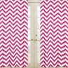 Hot Pink and White Chevron Window Treatment Zig Zag Panels - Set of 2