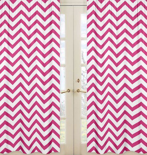 Hot Pink and White Chevron Window Treatment Zig Zag Panels - Set of 2 - Click to enlarge
