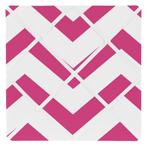 Hot Pink and White Chevron Zig Zag Fabric Memory/Memo Photo Bulletin Board - Click to enlarge