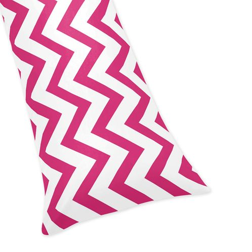 Hot Pink and White Chevron Zig Zag Full Length Double Zippered Body Pillow Case Cover - Click to enlarge
