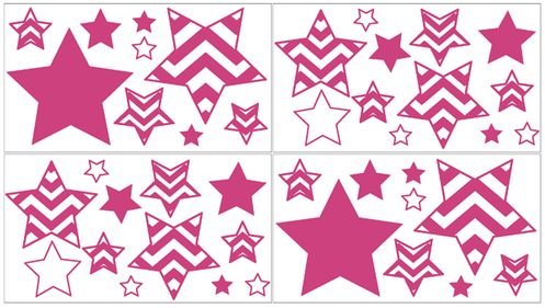 Hot Pink and White Chevron Zig Zag Peel and Stick Wall Decal Stickers Art Nursery Decor by Sweet Jojo Designs - Set of 4 Sheets - Click to enlarge
