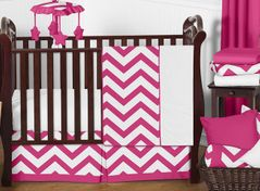 Hot Pink and White Chevron ZigZag Baby Bedding - 11pc Crib Set by Sweet Jojo Designs