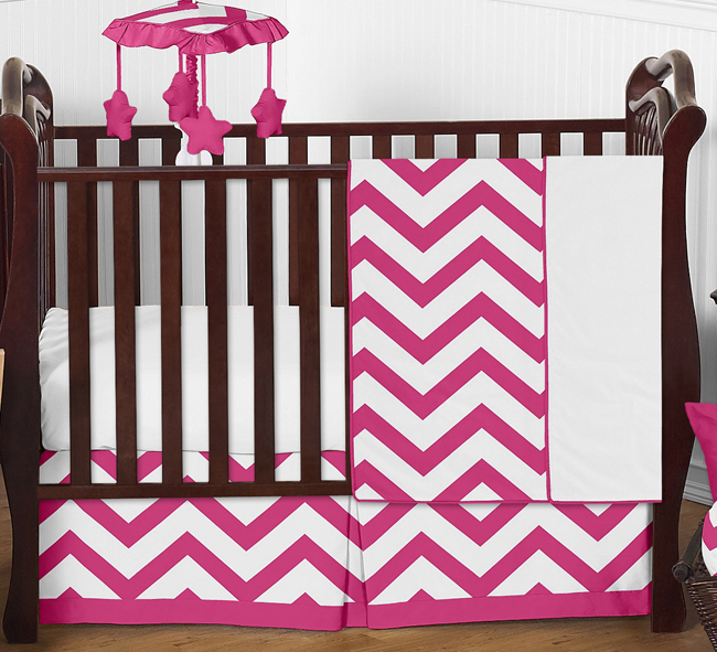 Hot Pink And White Chevron Zigzag Baby Bedding 4pc Crib Set By Sweet Jojo Designs Only 139 99