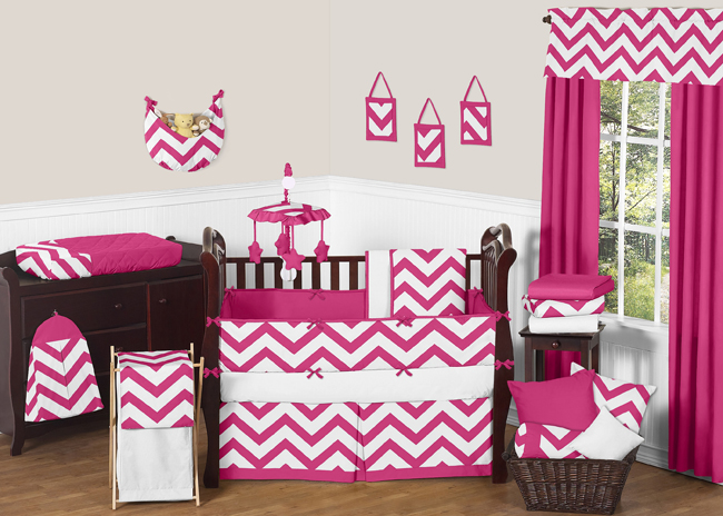 Hot Pink And White Chevron Zigzag Baby Bedding 9pc Crib Set By Sweet Jojo Designs Only 68 99