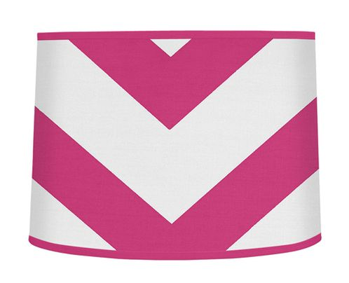 Hot Pink and White Chevron ZigZag Lamp Shade by Sweet Jojo Designs - Click to enlarge