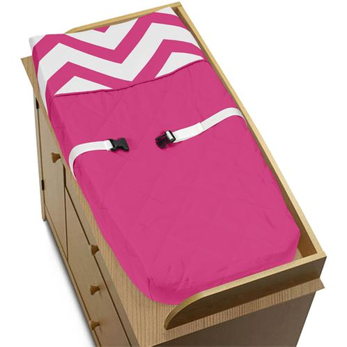 Hot Pink and White Zig Zag Chevron Baby Changing Pad Cover by Sweet Jojo Designs - Click to enlarge