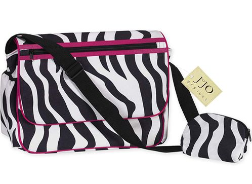 Hot Pink and Zebra Print Messenger Baby Diaper Bag - Click to enlarge
