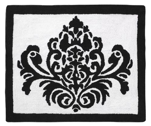 Hot Pink, Black and White Isabella Accent Floor Rug - Click to enlarge