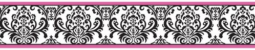 Hot Pink, Black and White Isabella Baby and Kids Wall Border by Sweet Jojo Designs - Click to enlarge