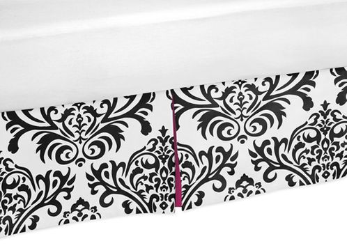 Hot Pink, Black and White Isabella Bed Skirt for Toddler Bedding Sets by Sweet Jojo Designs - Click to enlarge