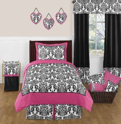 Hot Pink, Black and White Isabella Childrens and Teen Bedding by Sweet Jojo Designs - 3 pc Full / Queen Set