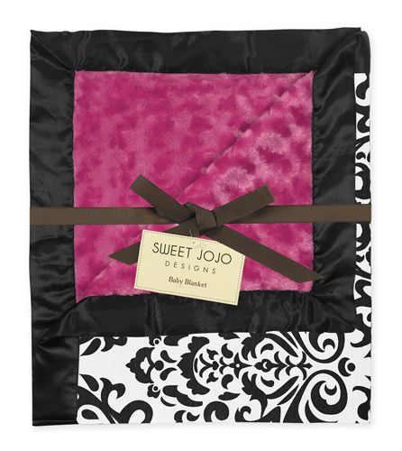 Hot Pink, Black and White Isabella Damask, Minky Swirl and Satin Baby Blanket by Sweet Jojo Designs - Click to enlarge
