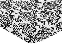 Hot Pink, Black and White Isabella Fitted Crib Sheet for Baby/Toddler Bedding Sets - Damask Print