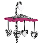 Hot Pink, Black and White Isabella Musical Baby Crib Mobile by Sweet Jojo Designs