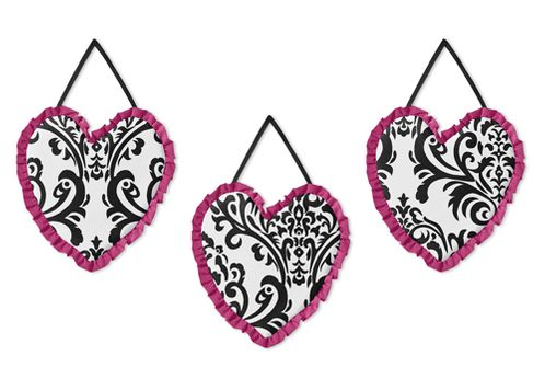 Hot Pink, Black and White Isabella Wall Hanging Accessories by Sweet Jojo Designs - Click to enlarge
