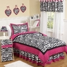 Hot Pink, Black & White Funky Zebra Teen Bedding - 3 pc Full / Queen Set