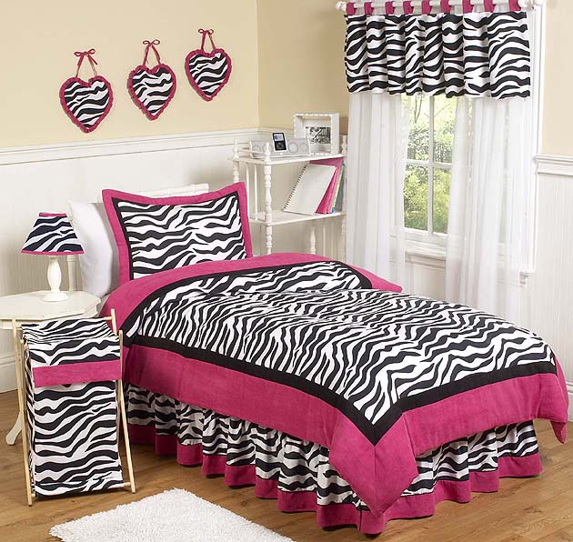 Hot Pink, Black & White Funky Zebra Teen Bedding - 3 pc Full ...